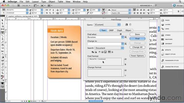 Using Find/Change for text formatting: InDesign CS5 Essential Training