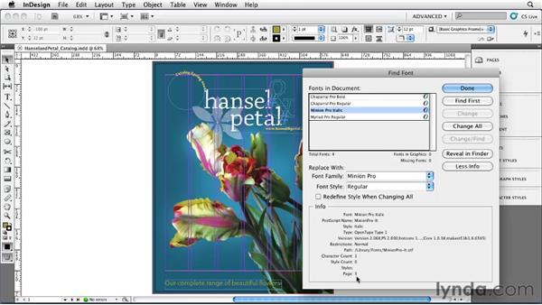Using Find Font: InDesign CS5 Essential Training