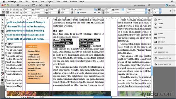 Splitting a paragraph into multiple columns: InDesign CS5 Essential Training