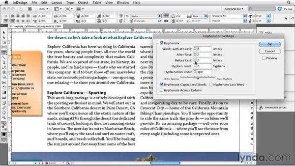 Adjusting text hyphenation: InDesign CS5 Essential Training