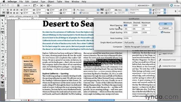 Fine-tuning justified text: InDesign CS5 Essential Training
