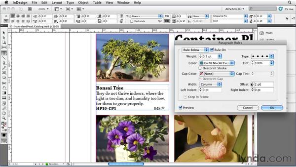Adding rules (lines) above or below a paragraph: InDesign CS5 Essential Training