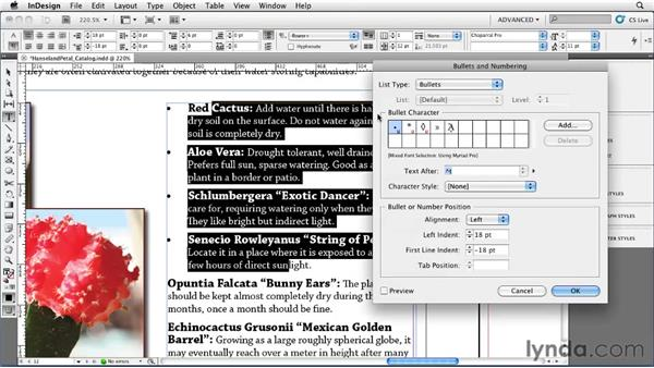 Adding automatic bullets: InDesign CS5 Essential Training
