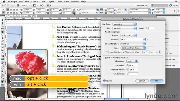 Working with numbered lists: InDesign CS5 Essential Training