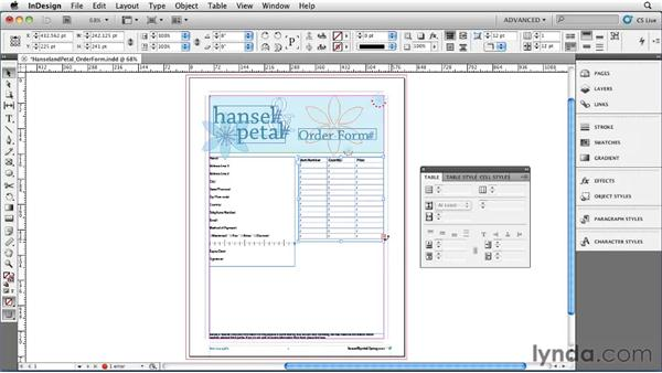 Creating a table: InDesign CS5 Essential Training