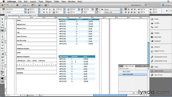 Adding Microsoft Word and Excel tables: InDesign CS5 Essential Training