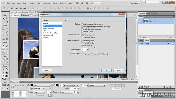 Using the Preferences panel: Fireworks CS5 Essential Training