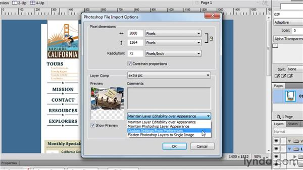 Opening Photoshop files: Fireworks CS5 Essential Training