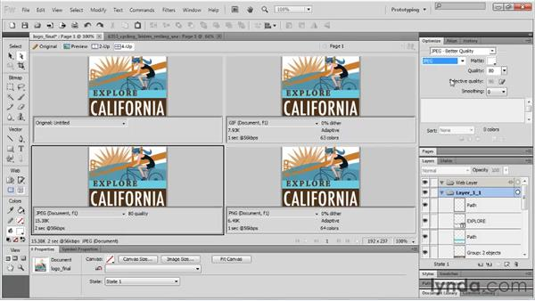 Exporting a single file: Fireworks CS5 Essential Training