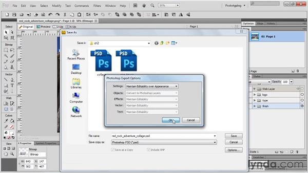 Saving Photoshop files: Fireworks CS5 Essential Training