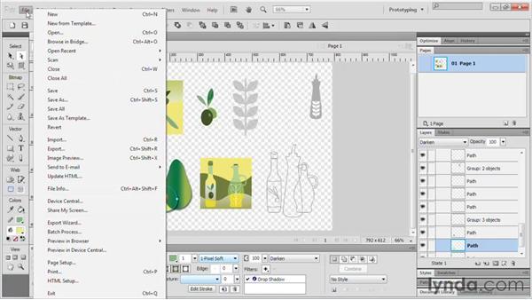 Using Fireworks files for Illustrator : Fireworks CS5 Essential Training