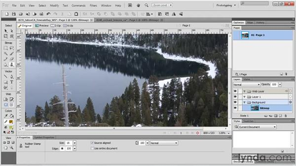 Retouching with the corrective tools: Rubber Stamp: Fireworks CS5 Essential Training
