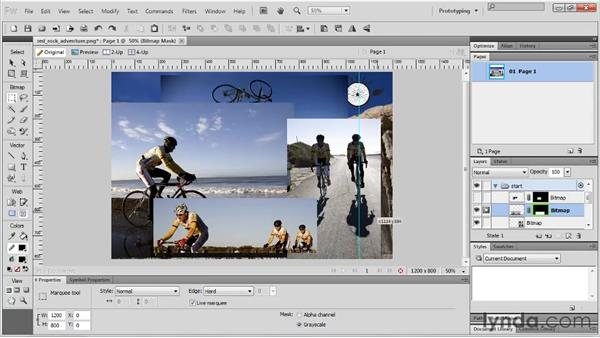 Creating a bitmap mask with a selection: Fireworks CS5 Essential Training