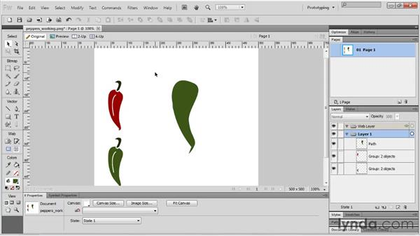 Editing vector shapes with the Freeform and Reshape Area tools: Fireworks CS5 Essential Training