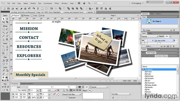 Using shapes as image elements: Fireworks CS5 Essential Training