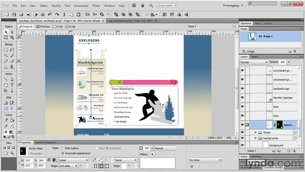 Masking objects with vector shapes: Fireworks CS5 Essential Training