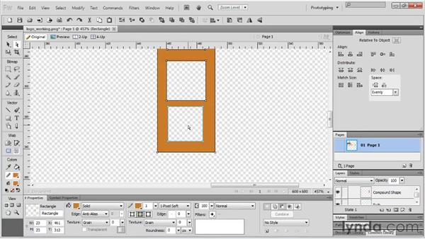 Using the Compound Shape tool: Fireworks CS5 Essential Training