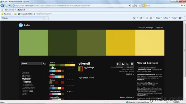 Using the Kuler panel for color inspiration: Fireworks CS5 Essential Training