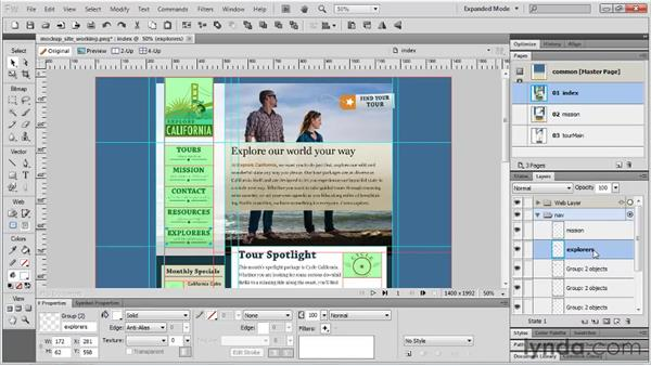 Sharing layers across pages: Fireworks CS5 Essential Training