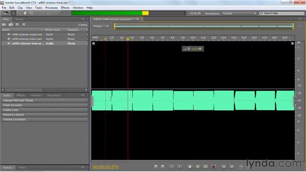 Taking a look at basic sound waves: Soundbooth CS5 Essential Training