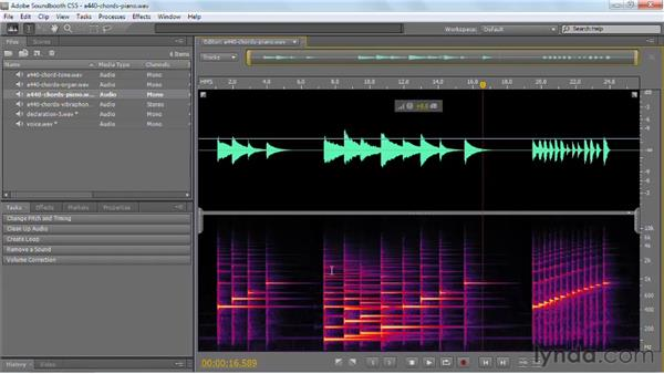 Taking a look at complex sound waves: Soundbooth CS5 Essential Training