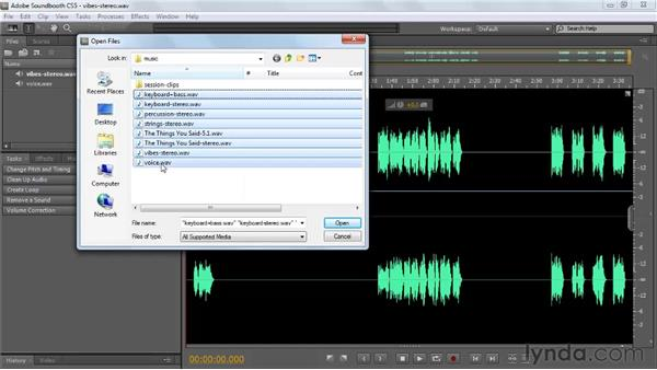 Opening and importing files: Soundbooth CS5 Essential Training