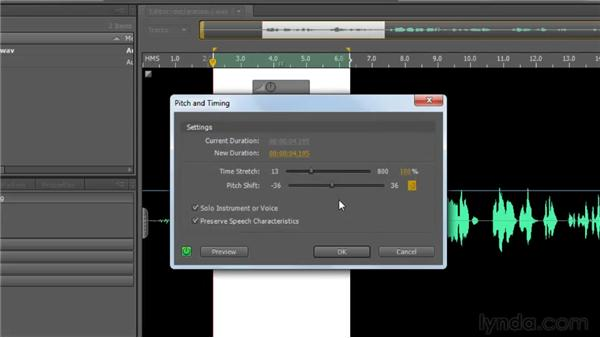 Stretching time and shifting pitch: Soundbooth CS5 Essential Training