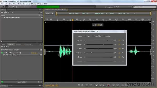 Applying and customizing advanced effects: Soundbooth CS5 Essential Training