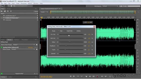 Applying reverb and echo: Analog Delay and Convolution Reverb: Soundbooth CS5 Essential Training