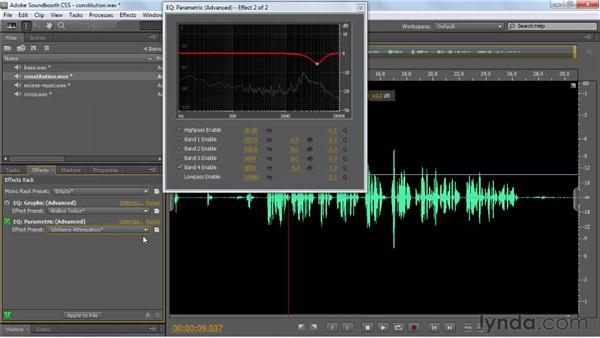 Applying equalization effects: Graphic and Parametric: Soundbooth CS5 Essential Training