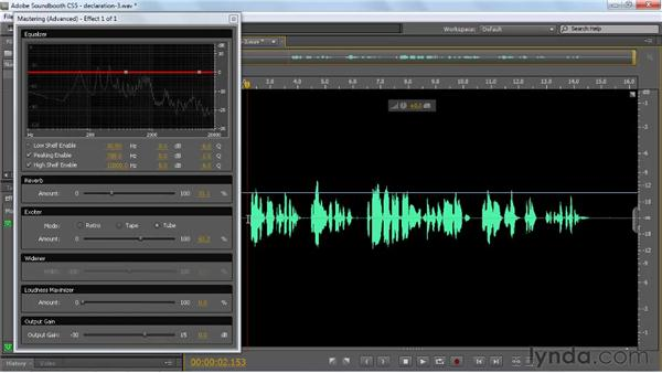 Setting the all-in-one effect: Mastering: Soundbooth CS5 Essential Training