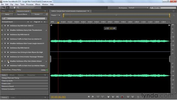 Using Soundbooth sound effects in your multitrack file: Soundbooth CS5 Essential Training