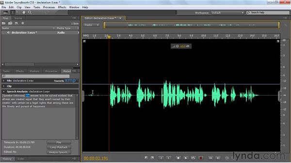 Turning spoken dialogue into searchable metadata: Soundbooth CS5 Essential Training