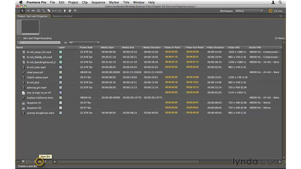Sorting and organizing clips: Premiere Pro CS5 Essential Training