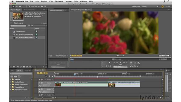 Using ripple edits and ripple delete: Premiere Pro CS5 Essential Training