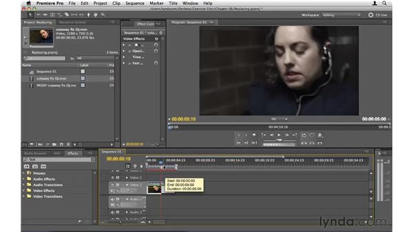 Replacing clips: Premiere Pro CS5 Essential Training