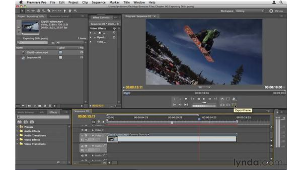 Exporting a still frame: Premiere Pro CS5 Essential Training