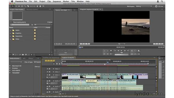Rearranging clips in the Timeline: Premiere Pro CS5 Essential Training