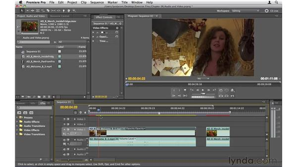 Disconnecting audio and video: Premiere Pro CS5 Essential Training