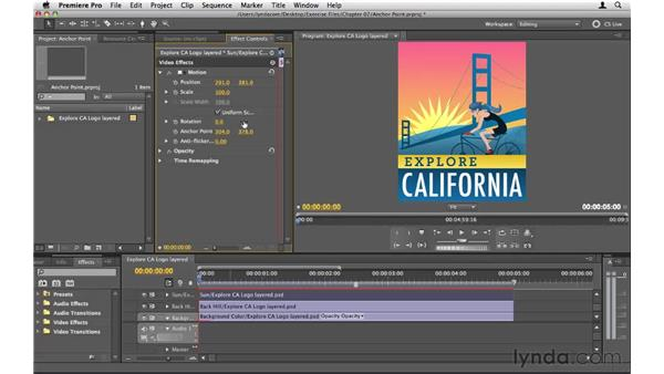 Moving the anchor point: Premiere Pro CS5 Essential Training