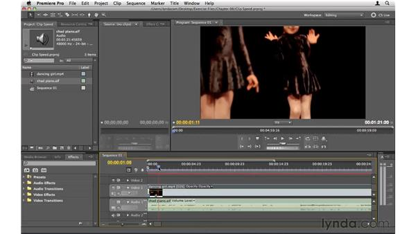 Changing the speed of a clip: Premiere Pro CS5 Essential Training