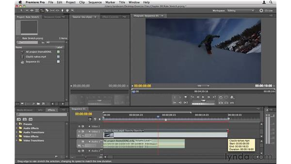 Using the Rate Stretch tool: Premiere Pro CS5 Essential Training