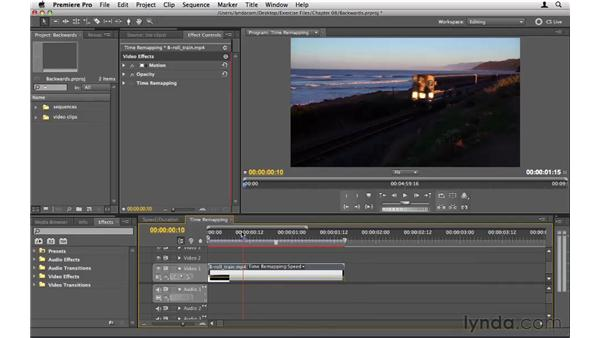 Playing a clip backward: Premiere Pro CS5 Essential Training
