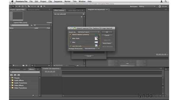 Using layered Photoshop files: Premiere Pro CS5 Essential Training
