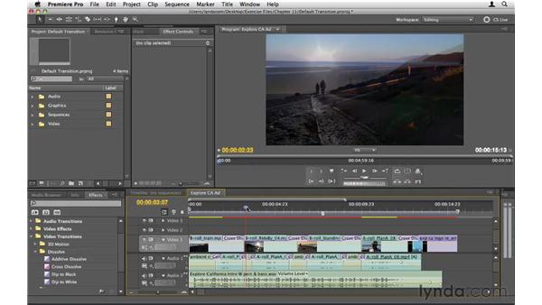 Setting up the default transition: Premiere Pro CS5 Essential Training