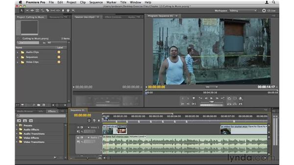 Cutting video to music: Premiere Pro CS5 Essential Training