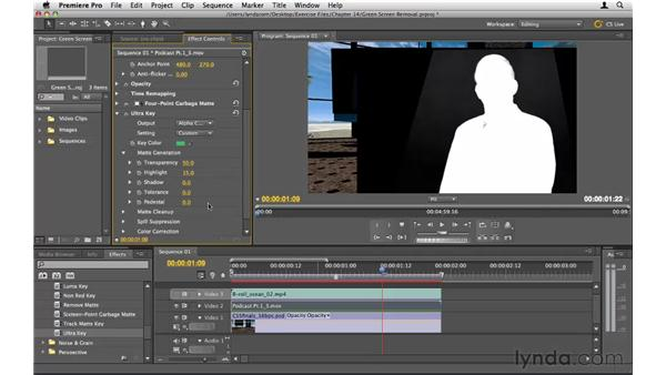 Removing a green screen background: Premiere Pro CS5 Essential Training