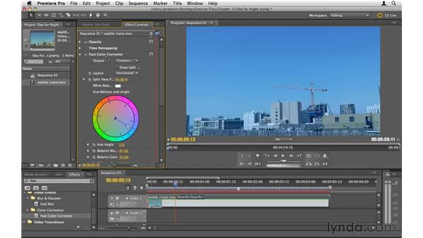 Creating a day-for-night shot: Premiere Pro CS5 Essential Training