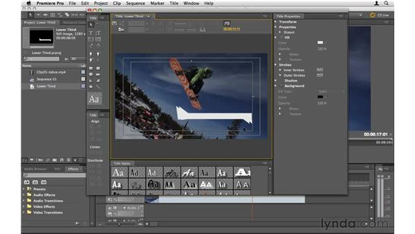 Creating a lower third: Premiere Pro CS5 Essential Training