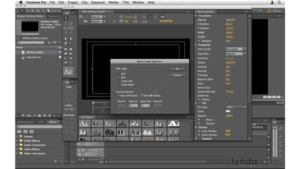 Animating rolling credits: Premiere Pro CS5 Essential Training